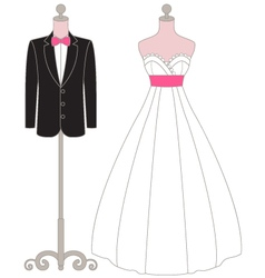 Pastel wedding dress mannequin vector