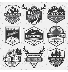 Set of monochrome outdoor camping adventure vector