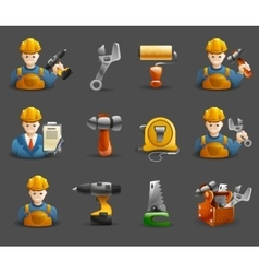 Construction remodeling work isometric icons set vector