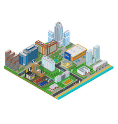 Isometric urban city real estate background with vector