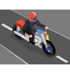 Isometric biker on the road top side view vector