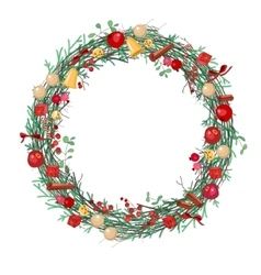 Round christmas wreath with fir branches vector