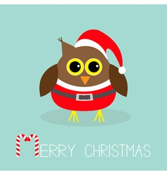 Cute owl in santa claus costume hat snowflakes vector