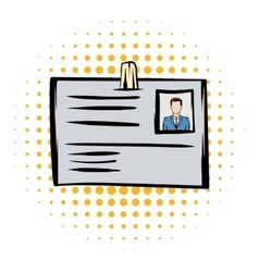 Identification card comics icon vector