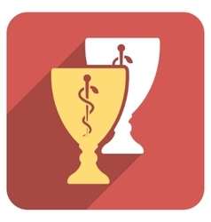 Medical cups flat rounded square icon with long vector