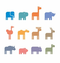 Animals set silhouette vector