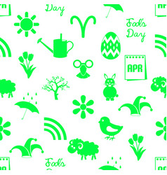 April month theme set of green icons seamless vector