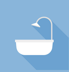 bathtub icon flat design with long shadow vector image vector image