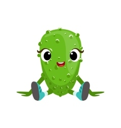 Big eyed cute girly cucumber character sitting vector