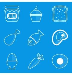 Blueprint icon set food vector
