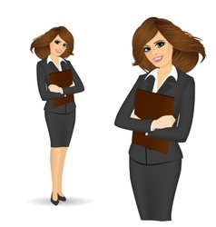 Business woman with paper folder vector