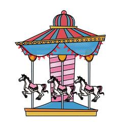 Carnival carousel horse circus park festival vector