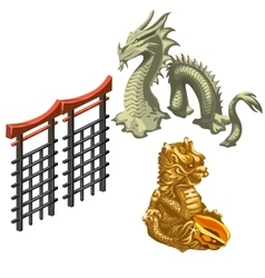 Chinese dragon snake and fragment of wall vector