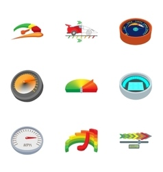 Engine speedometer icons set cartoon style vector