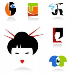 face icons and logos vector image