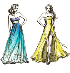 Fashion long dress catwalk vector