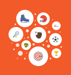 Flat icons volleyball shoes rugby and other vector