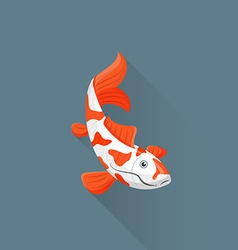 Flat japanese koi fish icon vector