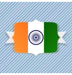 India flag on badge with ribbon vector