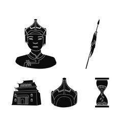 Military spear mongolian warrior helmet vector