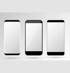 Mobile phones mockup blank screen set vector
