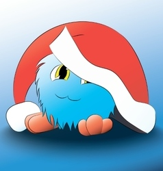 Monster cute cartoon blue christmas hat vector