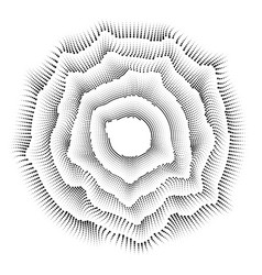 radial black and white round pattern of dots vector image vector image