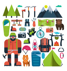 Set flat icon mountaineering vector