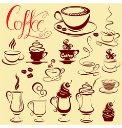 Set of coffee cups icons stylized sketch symbols vector image