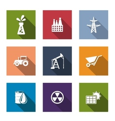Set of flat industrial icons vector image