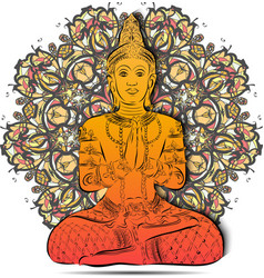 Silhouette of Buddha sitting on a floral mandala vector image