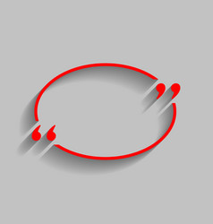 Text quote sign red icon with soft shadow vector