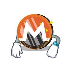 Waiting monero coin character cartoon vector
