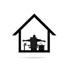 Work from home with man silhouette sitting vector