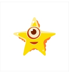 Yellow starfish from above vector