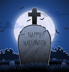 Old gravestone at night with happy halloween word vector