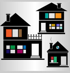 Set of silhouette houses with colored elements vector