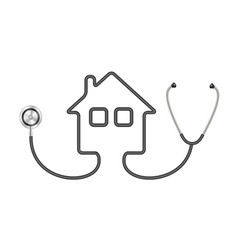 Stethoscope in shape of house in black design vector