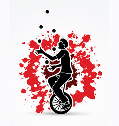 a man juggling balls while cycling on bicycle vector image