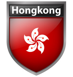 hong kong flag on badge vector image