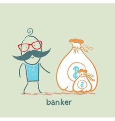 banker with a sack of money vector image