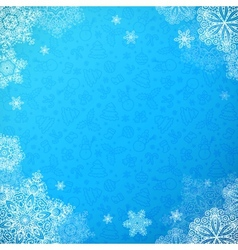 Blue snowy ornate background with snowflakes vector