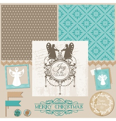 Vintage Christmas Angel Set vector image
