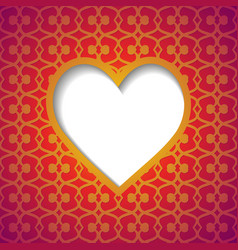 Patterned background with a cut heart vector