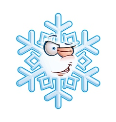 Snowflake emoticon wink vector