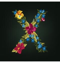 X letter flower capital alphabet colorful font vector