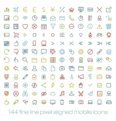 Modern user interface line icons pixels perfect vector