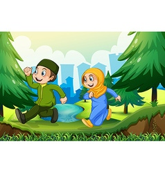 Muslim boy and girl in the park vector
