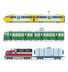 Modern and vintage trains collection vector