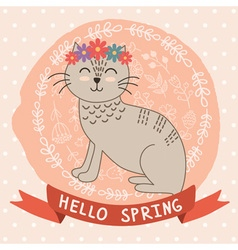 Hello spring card with a cute cat vector